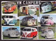 BRAND NEW POSTCARD VOLKSWAGEN VW CAMPERS. SPLIT SCREENS CAMPER VANS