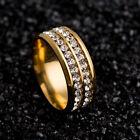 Unisexe CZ anneau en acier inoxydable bande de mariage BAGUES 3 Couleurs