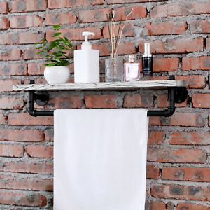 MyGift Whitewashed Wood and Pipe Bathroom Floating Wall Shelf with Towel Bar