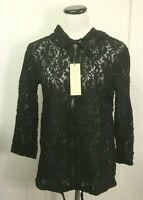 CACTUS  Zipper Lace Hoodie Jacket Black Cotton/Nylon Women's  Large   MSRP $65