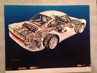 "Porsche 959 Cutaway David Kimble 8"" X 10"" Car Poster Own It! Very Rare!"