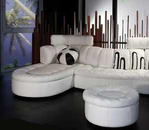 """Round 36"""" x 18"""" high ottoman only top grain soft white leather hand crafted"""