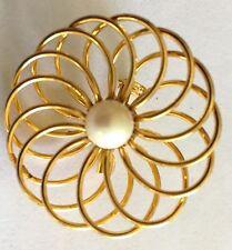 Fashion Jewelry - Gold Tone Spiral Pearl Brooch