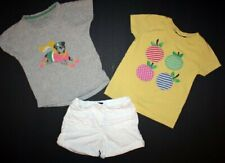 Lot of MINI BODEN white girls shorts and 2 appliqued shirts. Size 5-6 and 6 Cute
