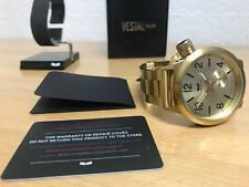 Vestal Watch Style CTN3M04 Gold Brushed Stainless 10 ATM 100 Meters Japan MVMT