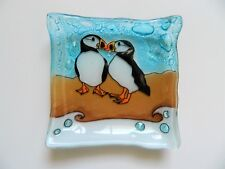Puffin Bird Fused Art Glass Small Square Plate Dish Ecuador Fair Trade