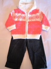 Lot bébé fille 18 mois : pantalon + gilet doublé polaire rose capuche (1512032)