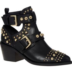 KURT GEIGER Sybil Studded Leather Heeled Ankle Boots - Black - £199