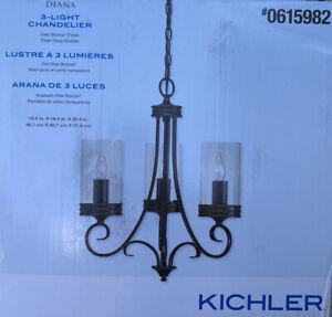 Kichler DIANA Olde Bronze 3 Light Williamsburg Clear Candle Chandelier 34723