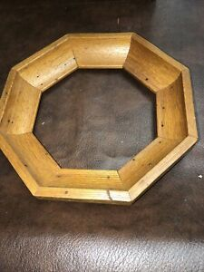 "Walnut Wood Finish Octagon Round 5 1/2"" Plate Frame Holder - Handcrafted"