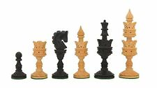 Wooden Hand Carved Lotus Chess Pieces Ebony Wood chess bazaar India M0004
