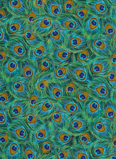 Timeless Treasures Packed Peacock Feather Premium 100% cotton fabric by the yard