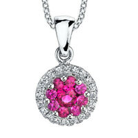 Sterling Silver Ruby Cluster CZ pendant Necklace set with Pave cubic zirconias