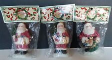 3 Vintage Holiday Treasures Santa Claus With Tree & Bell Christmas Ornaments New