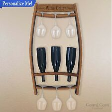 PERSONALIZED Wall Mounted Wine Rack Bottle Wine Glass Wine Barrel Furniture Home
