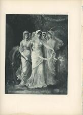 ANTIQUE WEDDING BRIDE BRIDEMAIDS FLOWER GARDEN LUTE WHITE DRESSES OLD ART PRINT