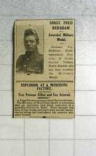 1916 Sgt Fred Redshaw Lindisfarne Terrace N. Shields Awarded Military Medal
