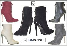 Womens Ankle Boots Stiletto Heel FrontZip Diamond Studds High Heel Ladies Shoes