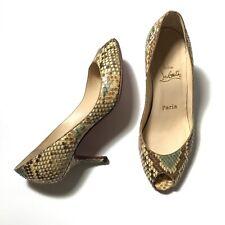 EUC Christian Louboutin Snake Skin Print Peep Toe Low Heels Pump Size 38