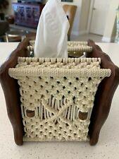 Vintage Macrame Tissue Box Holder Wooden base & decorative beads Beige cord