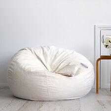 FUR BEANBAG Cover Extra Large Soft Ivory Cream Velvet Chair Bean Bag + Liner NEW