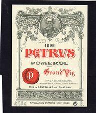 POMEROL 1ER GCC VIEILLE ETIQUETTE CHATEAU PETRUS 1998 1.5 L RARE     §06/02/17§