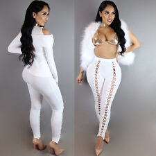 Womens Lace Up Fit Legging Pencil Pants High Waist Shorts Tight Bandage Trousers