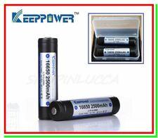 2 Batterie Pile Ricaricabili Litio 16650 2500mAh Pin Button Top PCB + Free Box