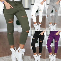 Women Drawstring Frayed Pants High Waist Destroyed Stretchy Slim Casual Trousers