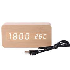 Electronic Digital Wooden LED Alarm Clock Sounds Control Temperature Desktop New