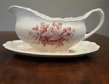J & G Meakin Gainsborough English Staffordshire Red & White Gravy Boat With Unde