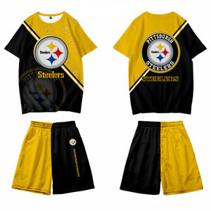 Pittsburgh Steelers Tracksuit Set Short Sleeve T-shirt Top Bottom Casual Suit