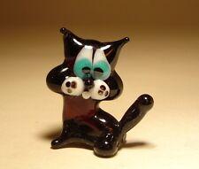 """Blown Glass """"Murano"""" Art Figurine Animal Small Black Kitten CAT"""