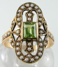 LARGE 9K 9CT GOLD PERIDOT PEARL ART DECO INS ETERNITY 8 RING FREE RESIZE