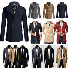 Men Stylish Slim Fit Double Breasted Overcoat Trench PEA Coat Jacket Outwear TOP