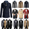 Mens Trench Coat Warm Thicken Jacket Double Breasted Winter Long Overcoat Tops