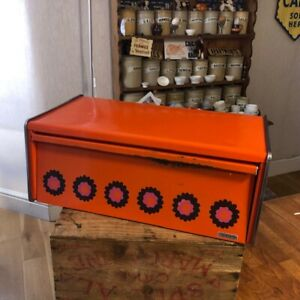 Vintage Brabantia Bright Orange Rectangular Bread Bin with Flowers – Retro!