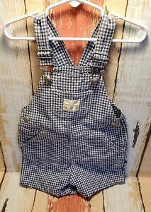 Infant Boy~Baby Gap~Blue & White Checked Denim Bib Overall Shorts~Sz. 12-18 Mos.