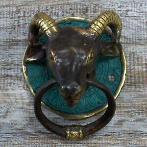 Brass Door Knocker - Rams Head
