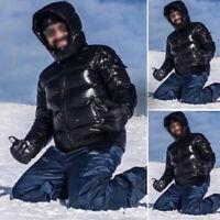 Winter Mens Shiny Duck Down Zip Up Hooded Ski Jacket Parka Puffer Coats Outwear