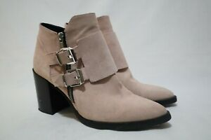 Made in Spain 👌 ZARA Woman Size 8 Womens Leather Suede Zip 2x Buckle Boots🎁