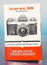 Zeiss Ikon Icarex 35 Gebrauchsanleitung german manual Tabellen - (92825)