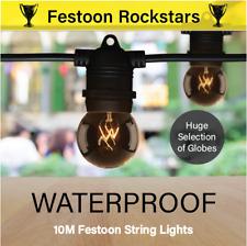 10m Black Festoon String Lights | Huge Selection of Globe Types | Outdoor Party
