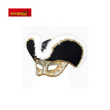 Men Venetian Style Masquerade Golden Highwayman Mask Prom Ball Fancy Dress w Hat
