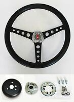 "1969-1993 Cutlass F85 98 442 Black Grip on Black Steering Wheel 14 1/2"""