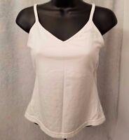 Womens White Tank Top Cami Shirt Blouse Size M