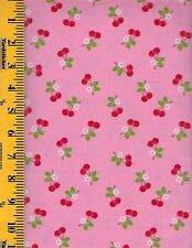 LORI HOLT SEW CHERRY 2 C5804 PINK    100%  Cotton Fabric priced by 1/2 yard