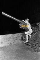 nude girl on cannon, unusual, 1970s vintage fine art negative!