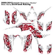 """Raptor 700 Graphics 09-12 DFR """"Bomber"""" White Red Full Wrap Yamaha Raptor700 ATV"""