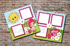 Strawberry Girl, Berry Sweet, 2 PRINTED Premade Scrapbook Pages BLJgraves 36